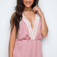 Love Quest Lace Romper - Blush