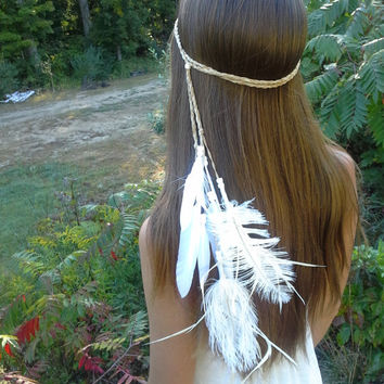 Feather HeadBand, Native, American, style, hippie, wedding, Boho, Bohemian headband, feather wedding, feather, feather veil, hippie headband