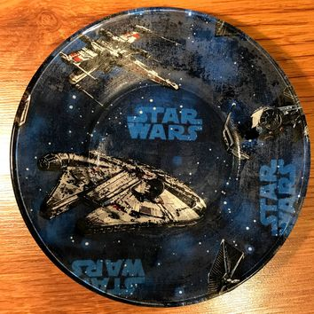 Handmade 8 inch Round Decorative Fabric Backed Star Wars Glass Plate
