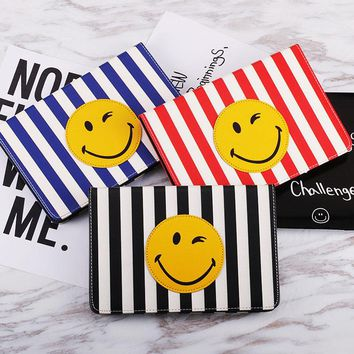 Tablets Case for ipad air 1 2 Good PU Leather Tablet Cover for ipad 5 6 mini 2 3 Cute Smiling Face Flip Stand Case Auto Sleep