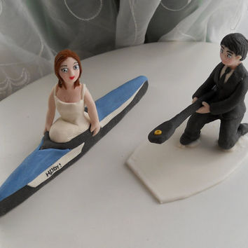 Canoe wedding couple fondant cake topper set