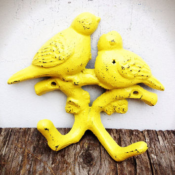 Hand Painted Love Birds Branch Wall Hook - Vintage Shabby Cottage Chic - Sunny Canary Yellow
