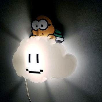 Super Mario Brothers Night Light, Nursery Decor, Geek Gift, Lakitu Cloud Lamp, Video Game Night Light, Home Decor,Birthday, Paper Mario
