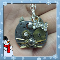 Upcycled Steampunk Hello Kitty Necklace