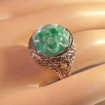 Chinese Silver Filigree Carved Jade Ring, Art Deco