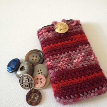 Crochet iPhone sleeve, Red iPhone 4S Cosy, Red Stripe Crochet Case, Red Crochet Case, Hand Crochet Phone Sleeve, Nokia Lumia, Blackberry