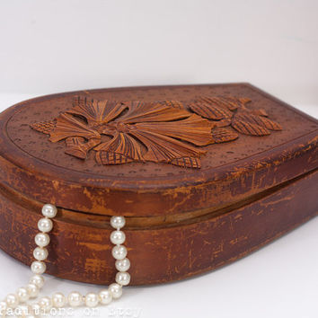 Antique Polish Jewelry Box: Hand Carved Wooden Keepsake, Large European Keepsake Box, Vintage Wooden Box, Necklace Box, Wooden Chest