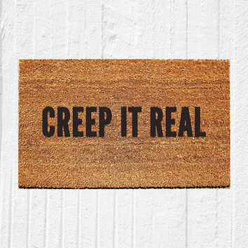 "Creep It Real Doormat | Welcome Mat | Halloween Door Mat | Halloween Decor | Funny Doormat | Fall Decor | Outdoor Rug | 18""x30"" Rug"