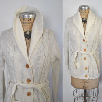 DEADSTOCK 1970s Cream Cardigan Sweater / cable knit