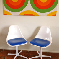 Mid Century Burke White Swivel Tulip Shell Chairs