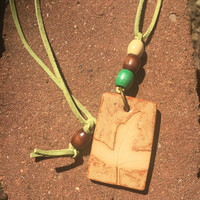 Hand-made Ceramic Pendant with Leaf in Brown and Green