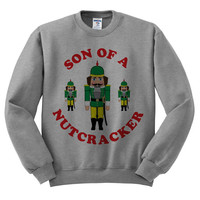 Grey Crewneck Son Of A Nutcracker Ugly Christmas Sweatshirt Sweater Jumper Pullover