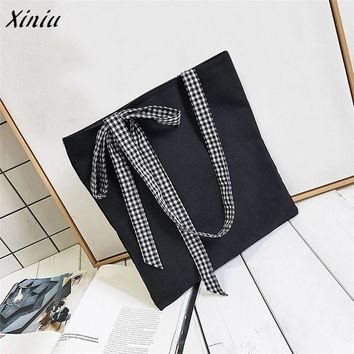 Xiniu Women handbag Fashion Striped Bow Tie Canvas Tote Female Single Shoulder Bags HIgh capacity Casual Tote