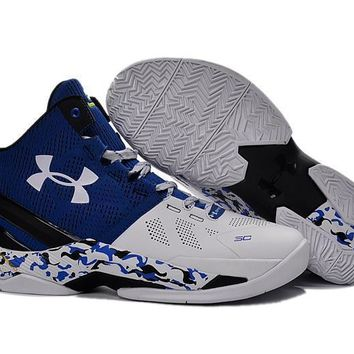 Beauty Ticks Vawa Men's Under Armor Curry Two Asg Basketball Shoes Blue White