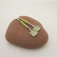 Long Prehnite and Hematite Wire Wrapped Earrings, Prehnie Statement Earrins
