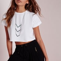 Missguided - Petite Roll Sleeve Cotton Crop Top White