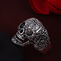 FREE Punk Style Sterling Silver Bikers Skull Ring