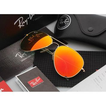 PEAP2Q ray ban aviator sunglasses gold frame orange flash lens rb3025 sunglasses