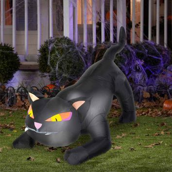 Halloween Indoor/Outdoor Decor Decoration Giant Animated Airblown Black Cat with Turning Head