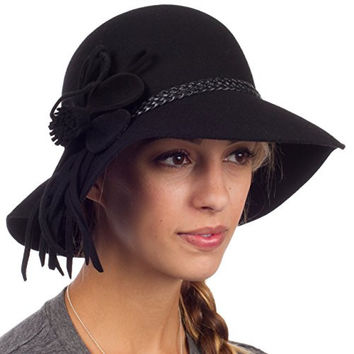 Sakkas 30M Gloria Vintage Style Wool Cloche Hat - Black - One Size