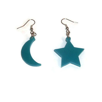 Star and Moon Earrings, Fairy Kei, Turquoise Aqua Dangle Earrings, Space Jewelry, Laser Cut Perspex, Kawaii