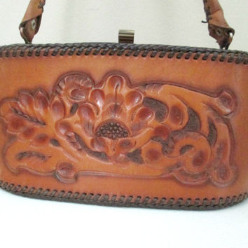 Vintage Hand Tooled Leather Handbag / Mid Century 1950s South  American Carved Leather Purse
