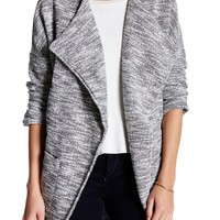 Draped Front Open Boucle Jacket