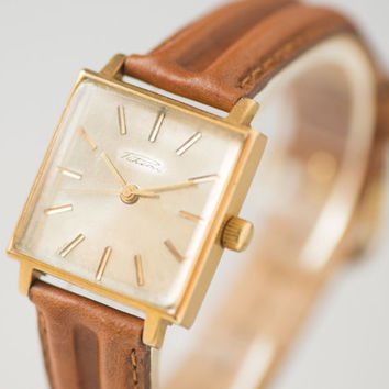 Vintage mens watch New Wave dandy style watch Raketa gold plated wristwatch rare square face watch gift unisex