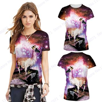 Psychedelic Starry Night Women's Gym Running T-shirt Rose Red Alpaca Sports Tops Blouses Round Neck Full Sleeved Yoga Tee Shirts