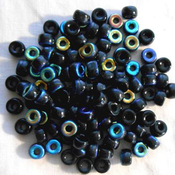 Fifty 6mm Czech Jet Black AB glass pony roller beads, large hole crow beads, C1450