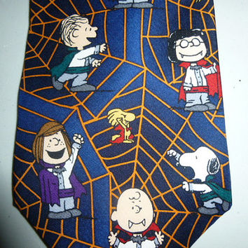 Mens Vintage Halloween Peanuts Trick or Treat Silk Tie Necktie Snoopy Woodstock Charlie Brown Linus Lucy