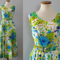 60s floral dress -  vintage painterly flower print sleeveless maxi long full skirt fit flare belted brocade bright green blue white 26 waist