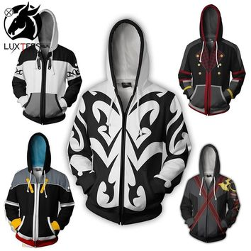 Anime Kingdom Hearts Sora Cosplay Hoodies Costume Men Women Sweatshirt Xemnas Zipper Coat Spring Jackets Luxtees