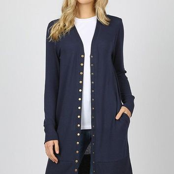 Snap Button Long Cardigan
