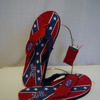 Rebel Flag Fringe Flip Flops