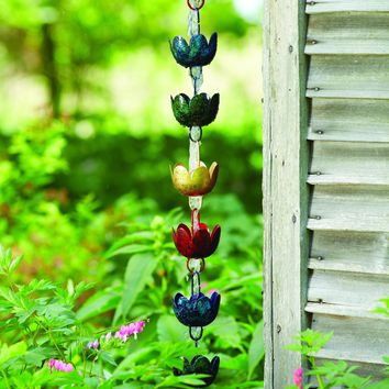 Multicolor Lily Cup Rain Chain - BACK IN STOCK LATE AUGUST