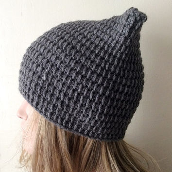 Crochet Cat Hat, Cat Ear Hat, Gray Cat Beanie ,Chunky Cat Hat, Winter Cat Hat
