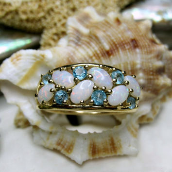 14k Opal and Blue Topaz Ring Yellow Gold 2.87g Size 7
