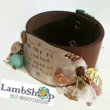 Leather & hammered Metal Cuff 1.5 inch Wide Bracelet with beads and charms. Customize with up to 3 words hand stamping. Personalized