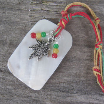 Rasta Marijuana Necklace,  Mother of Pearl Boho Necklace with Red, Gold and Green Jade, Bohemian Style