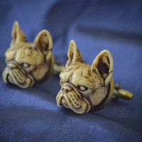 Victorian French Bulldog Cufflinks - Hand made resin French Bulldog cuff links