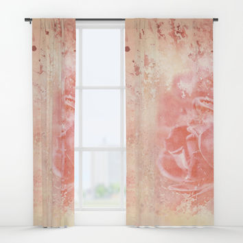 Rose Colored Splashes Window Curtains by Theresa Campbell D'August Art