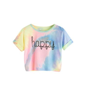 Happy Rainbow Pastel Tie Dye Crop Top