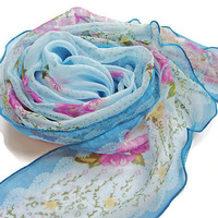 Silk scarf, Blue Pink Scarf, Little scarf, Floral scarves, Blue scarf, Scarves for women, Hand made scarf, Unique scarf, Spring scarf gift