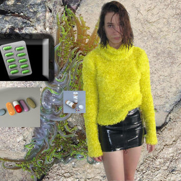 bright yellow fuzzy cowl neck sweater M by YARD666SALE on Etsy