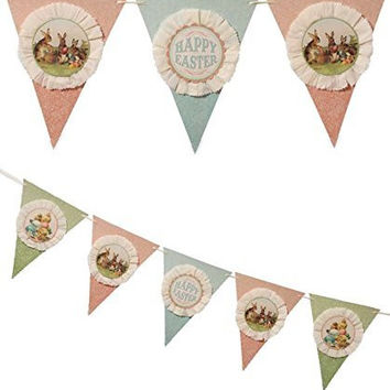 Bethany Lowe Vintage Style Happy Easter Bunnies Pennant Garland