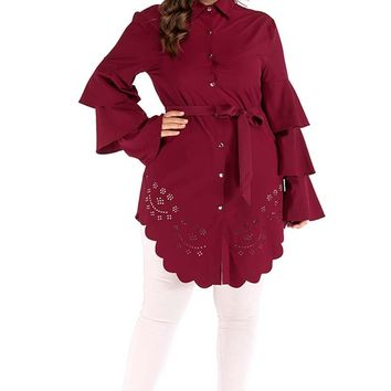 The Modish Tunic Top With Scalloped Eyelet Trims