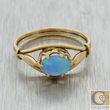 1880s Antique Victorian Estate 14k Yellow Gold .50ctw Opal Cocktail Ring