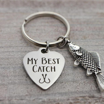 MY BEST CATCH, big fish, hooked on you silver key ring
