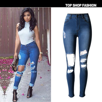 Strong Character Stretch High Waist Ripped Holes Women's Fashion Denim Slim Plus Size Hot Sale Pants [6365913220]